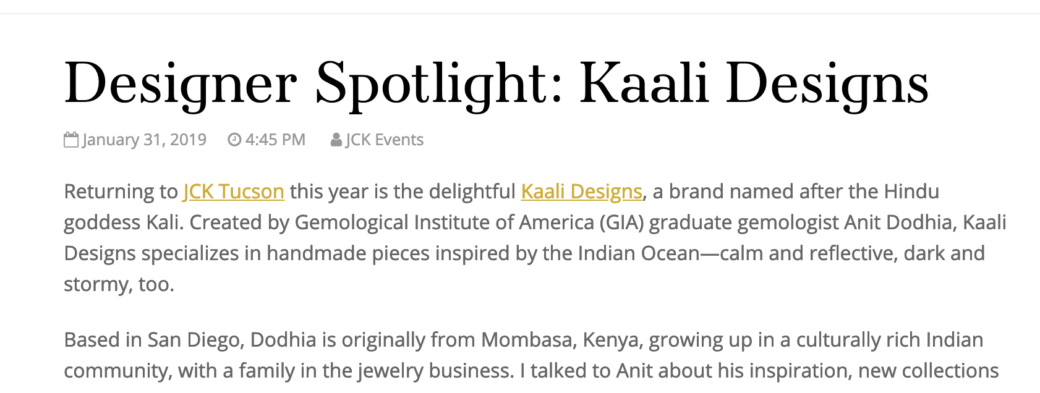 KaaliDesigns Featured in JCK Insider Q&A